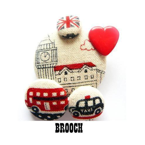 London loves retro pin brooch