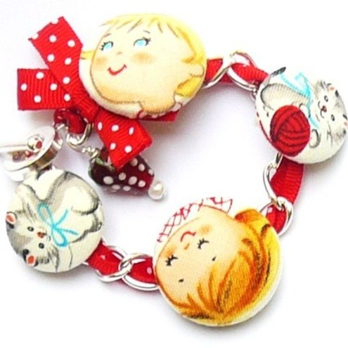 kitty kids retro cute charm bracelet