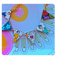 50s brights wooden bunting necklace