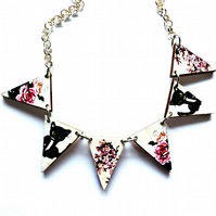 black cats and cherry blossom bunting necklace made from wood