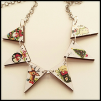 Christmas themed wooden bunting necklace santa deer snowman tree wreath
