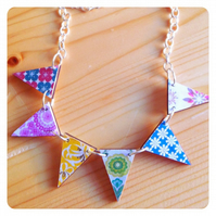 Vintage wallpaper prints wooden bunting necklace