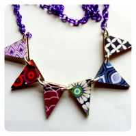 Purple mod 60s wallpaper wooden bunting necklace
