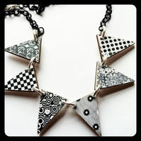 60s mod patterns black and white retro bunting necklace  wood
