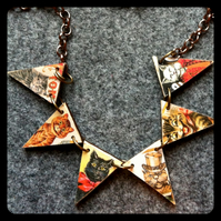 Victorian images  Tom cats wooden  bunting necklace