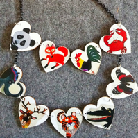 Vintage animals large heart necklace rooster elephant crab moose panda fox tiger