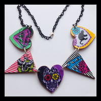 Day of the dead sugar skull bunting hearts necklace