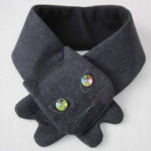 Cat Scarf : Grey Wool Sparkly Crystal-Eyed Glamour Puss
