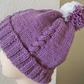 Aran Hat, Cabled, Bobble,  Hand Knitted, Heather