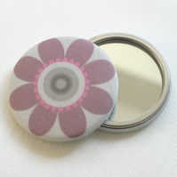 Purple Daisy Fabric Pocket Mirror