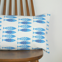 Newlyn Fish cushion cover Blue