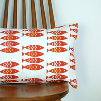 Newlyn Fish cushion cover Red