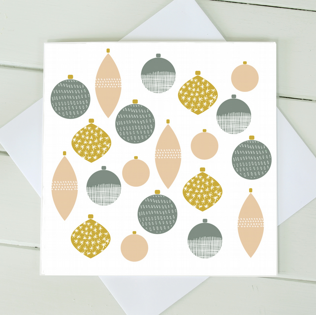 Scandi Christmas Baubles Cards - Set of 4