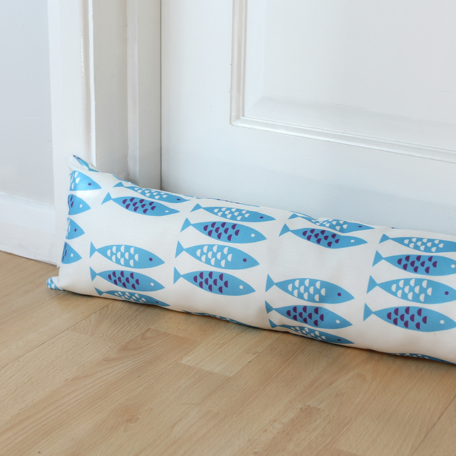 Newlyn Fish Blue Fabric Draught Excluder