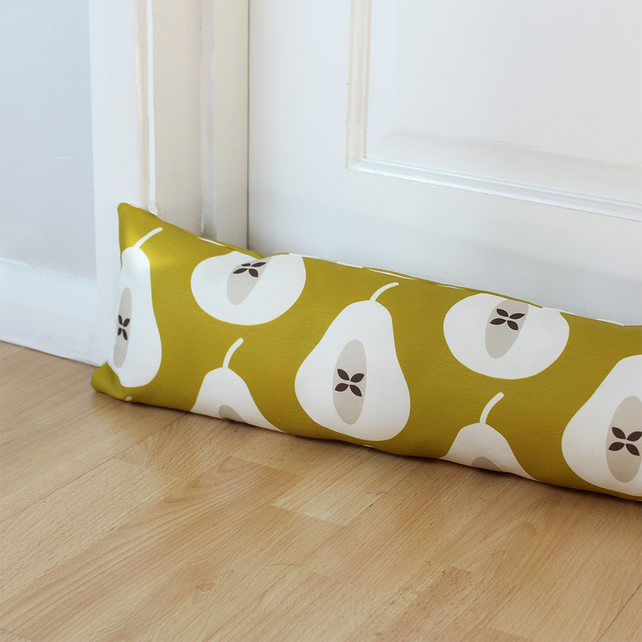 Mustard Yellow Pear Fabric Draught Excluder