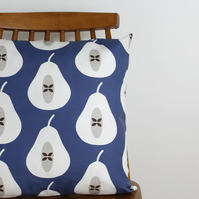 Indigo Blue Pear cushion cover