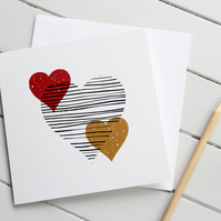 Scandi Love Hearts Valentines Card