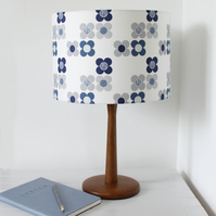 Mod Flower Fabric Lampshade Indigo Blue