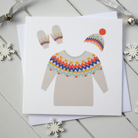 Fairisle Xmas Jumper Christmas Card