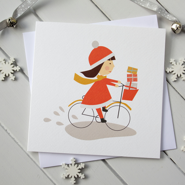 Xmas Bicycle Girl Christmas Card