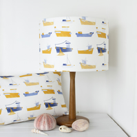 Harbour Boats Fabric Lampshade