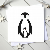 Scandi Penguin Parent and Baby Christmas Card