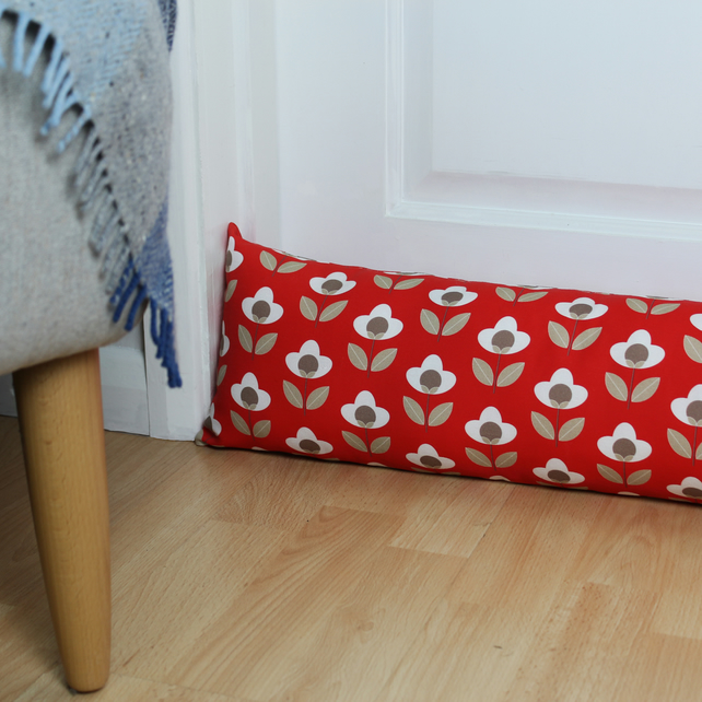 Red Tulip Fabric Draught Excluder