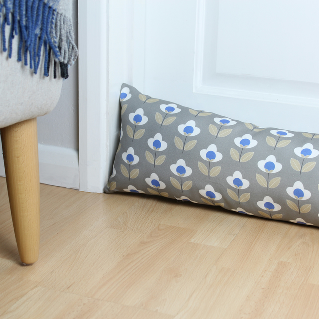 Grey Tulip Fabric Draught Excluder