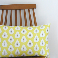 Yellow Pear Print bolster cushion cover