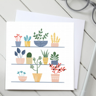 Hot House Cactus Plant Blank Greetings Card
