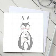 Scandi Rabbit Parent and Baby Card
