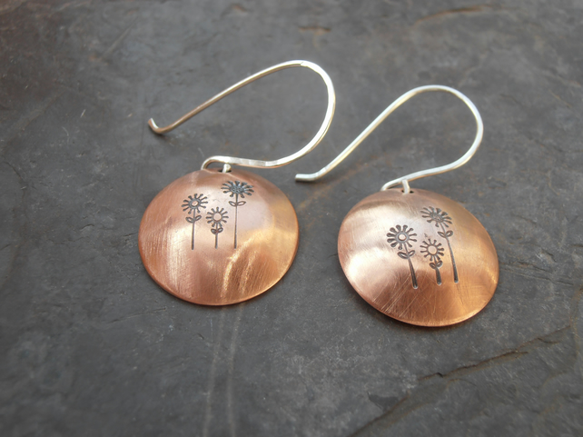 Copper flower earrings metal stamped mixed metal