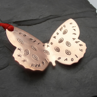 butterfly gift tag copper stamped message