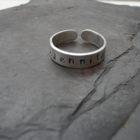 Sterling silver personalised metal stamped ring