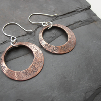 Copper Earrings Hoop Swirly Metal Stamped pattern