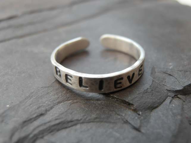 Personalised toe ring Sterling Silver Word or Name