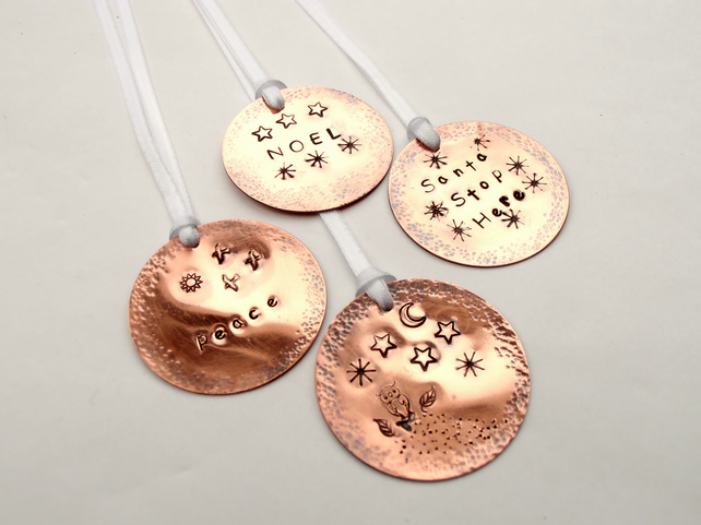 Christmas Baubles Metal Stamped Copper