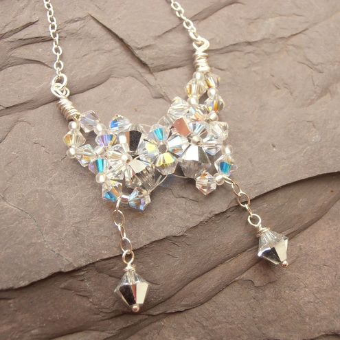 Swarovski Butterfly Necklace Evening Style Beaded and Woven Crystal