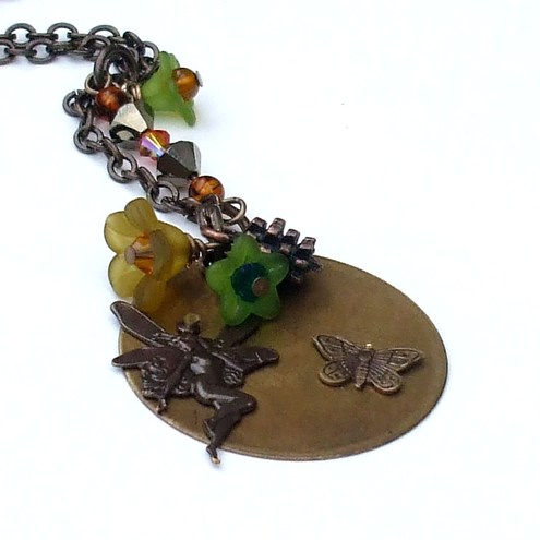 Vintage Brass Fairy Necklace Whimsical Nouveau Design
