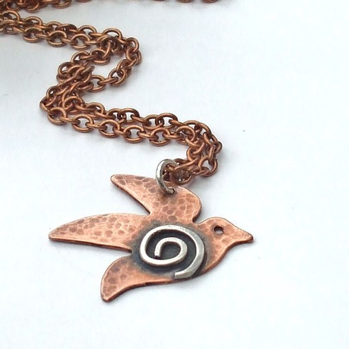 COPPER  NECKLACE SWALLOW