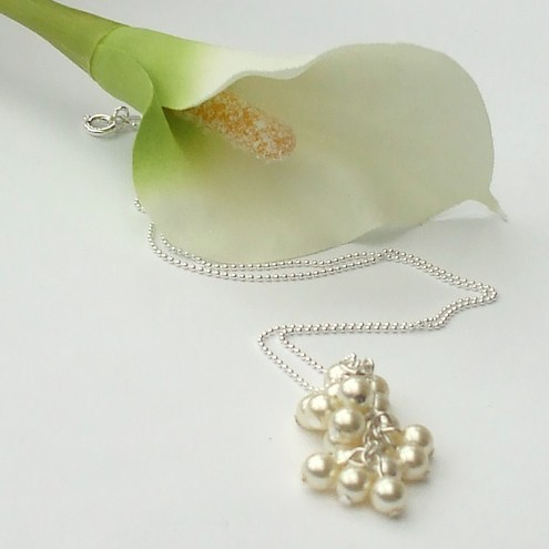Cream swarovski pearl cluster pendant on sterling silver