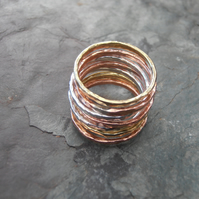 Stacking rings skinny mixed metal