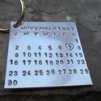 Personalised keyring silver wedding anniversary gift