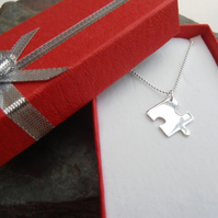 Jigsaw puzzle sterling silver necklace