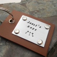 Leather and metal personalised keyring