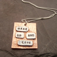Text pendant metal stamped Quote
