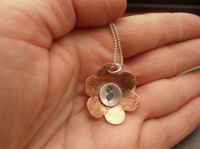 Copper Flower necklace personalised initial necklace