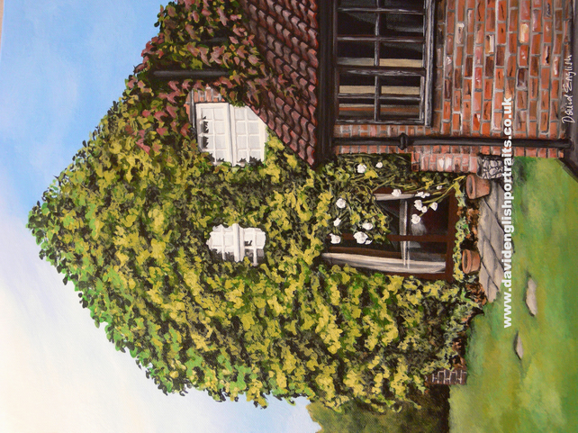 "16"" x 12"" Commissioned House Portrait from your photo, in Gouache."