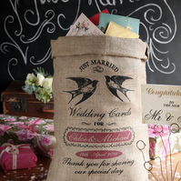 Personalised Wedding Sack, Alternative Wedding Post Box, Custom Wedding Gift