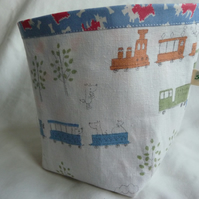 Trains and cars fabric storage pot